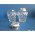 an antique silver mounted caddy incl matching spoon beaker