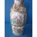 an antique Chinese famille rose porcelain canton vase