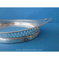 an antique small boat shaped Dutch silver serving tray