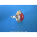 a vintage Dutch 14ct gold red coral ladies ring