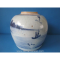 an antique Chinese blue and white porcelain jar