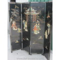 a vintage Chinese four panel lacquer screen