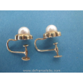 a pair of vintage 14ct gold pearls earrings