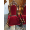 a pair of antique large French oak carved armchairs