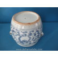 an antique Chinese blue and white covered porcelain jar
