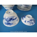 a set of  six antique Japanese blue and white porcelain lidded tea bowls