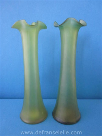 a pair of green glass Loetz tulip vases