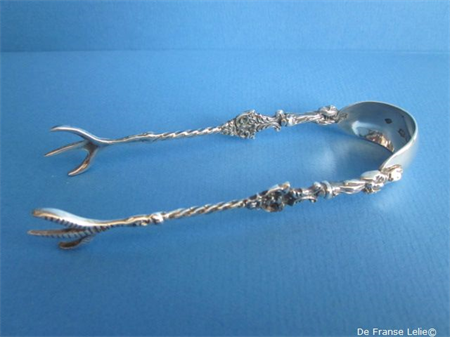 a Dutch silver sugar tongs