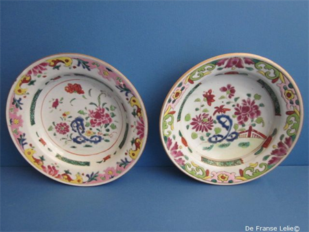 a pair of 18th century Chinese famille rose porcelain plates