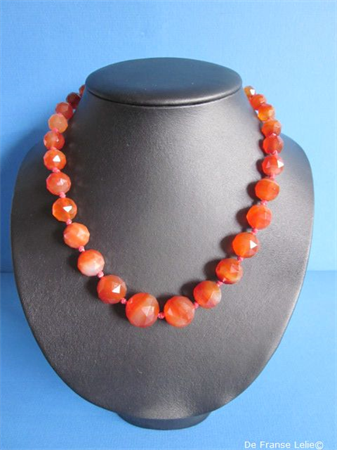 an antique faceted carnelian necklace