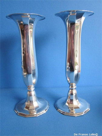 a pair of Dutch silver rose vases