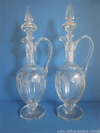 a pair of antique crystal decanters