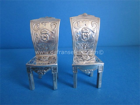 two antique Dutch silver miniature silver chairs