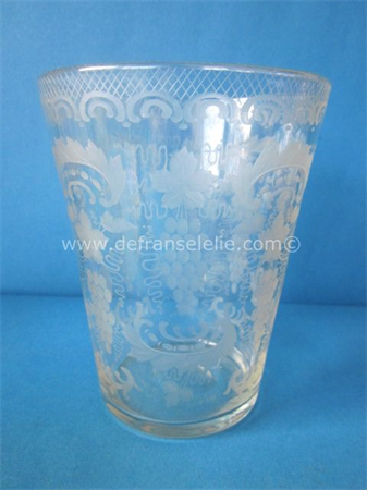 an antique German etched grape glass