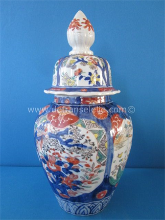 an antique Japanese imari porcelain vase and cover