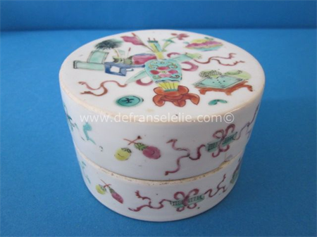 antique Chinese famillie rose porcelain box