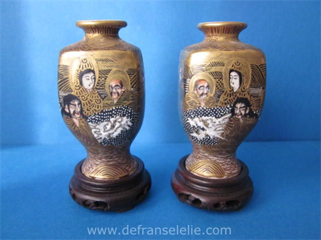 a pair of antique Japanese miniature Meiji vases