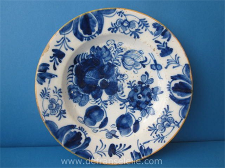 an 18th century Delft earthenware plate