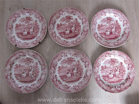 set of six antique Petrus Regout Ruth and Boaz earthenware plates