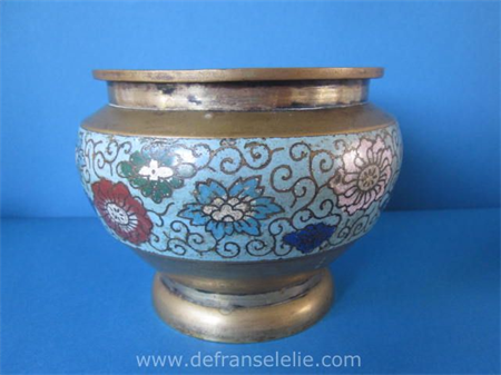 an antique Chinese bronze cloisonne bowl