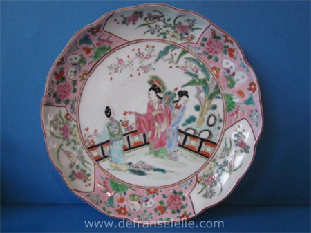 an antique Japanese famille rose porcelain plate