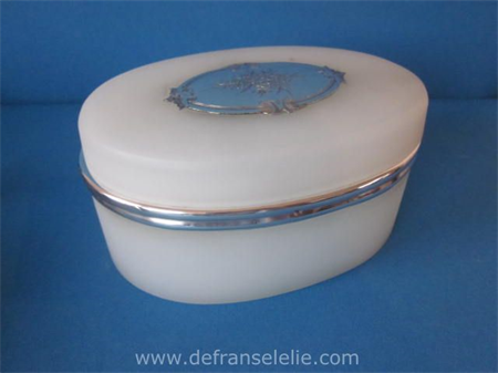 an antique French opaline biscuit box with silver mountings