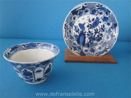 a fine blue and white Chinese porcelain cup and saucer Kangxi