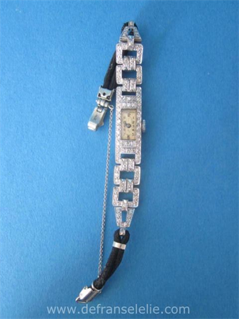 an art deco 14ct white gold diamond cocktail ladies watch
