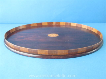 a vintage wooden inlaid serving tray