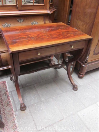 an antique mahogany sofa table with two drawers