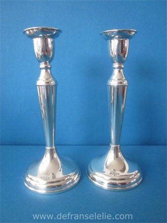 a pair of vintage Dutch silver weighted candlesticks