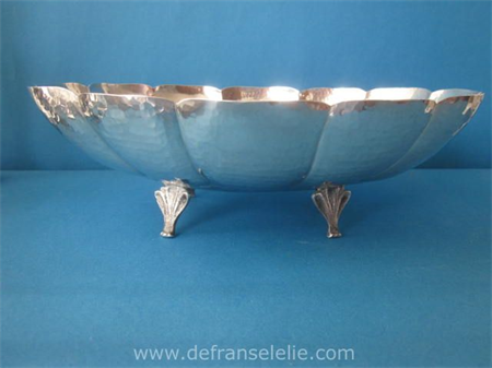 an art deco lobbed hammered silver bowl