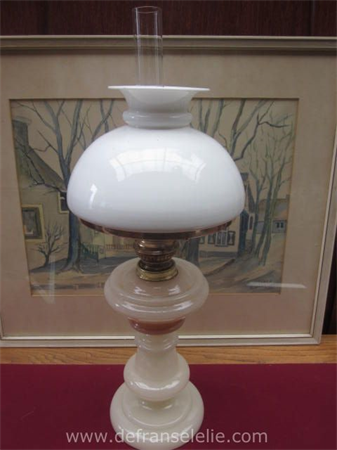 an antique French opaline oil lamp