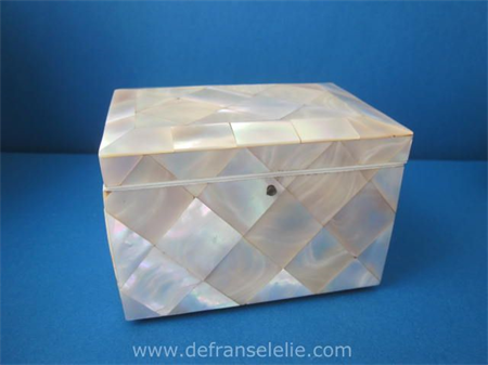 an antique mother of pearl tea caddy