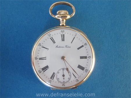 an antique 14K gold mens pocket watch Antoine Freres