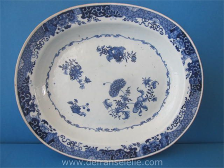an antique Chinese blue and white porcelain Qianlong platter
