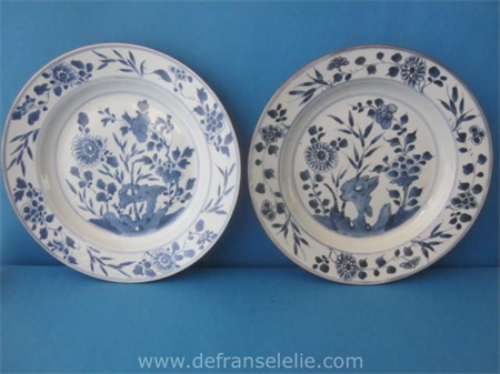 a pair of 18th century Chinese blue and white porcelain chargers