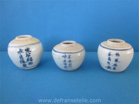 three antique Chinese calligraphy porcelain jars