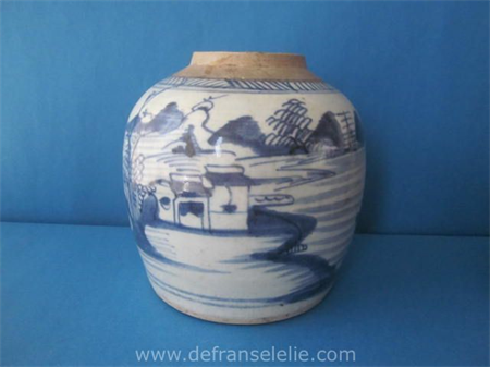 an antique Chinese blue and white porcelain ginger jar
