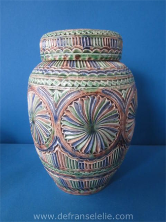 a handmade Frisian earthenware kerfsnede jar with cover