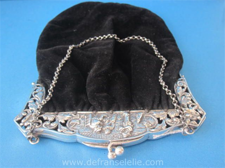 an antique Dutch large silver purse