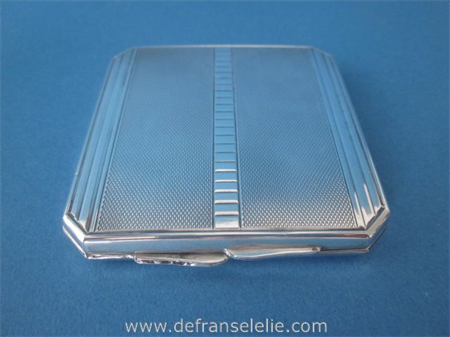 an art deco German silver powder box