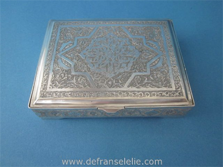 a vintage Persian rectangular engraved silver box