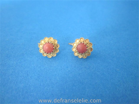 a pair of vintage Dutch 14ct gold red coral earrings