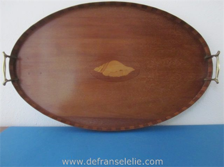 an antique mahogany inlaid serving tray with brass handles