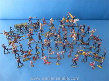 a joblot of eighty painted pewter toy soldiers