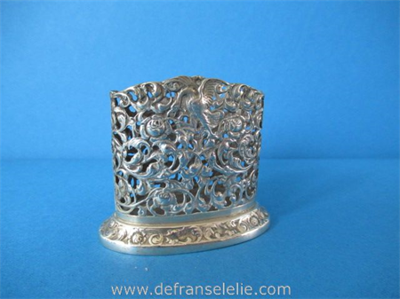 a small Dutch silver oval openwork beaker