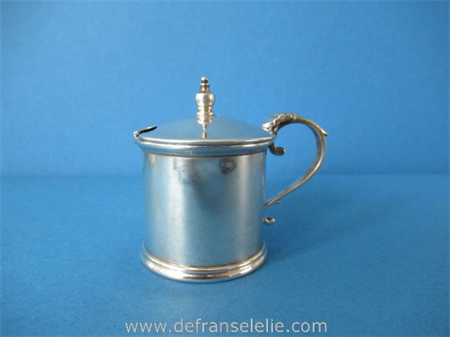 a vintage sterling silver hammered mustard pot