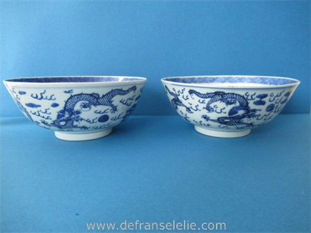 a pair of antique Chinese blue and white porcelain five claw Dragon bowls