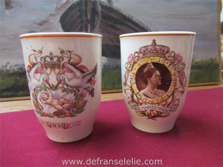 two Dutch vintage earthenware Royal family beakers